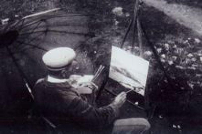Etienne Bouillé en train de peindre